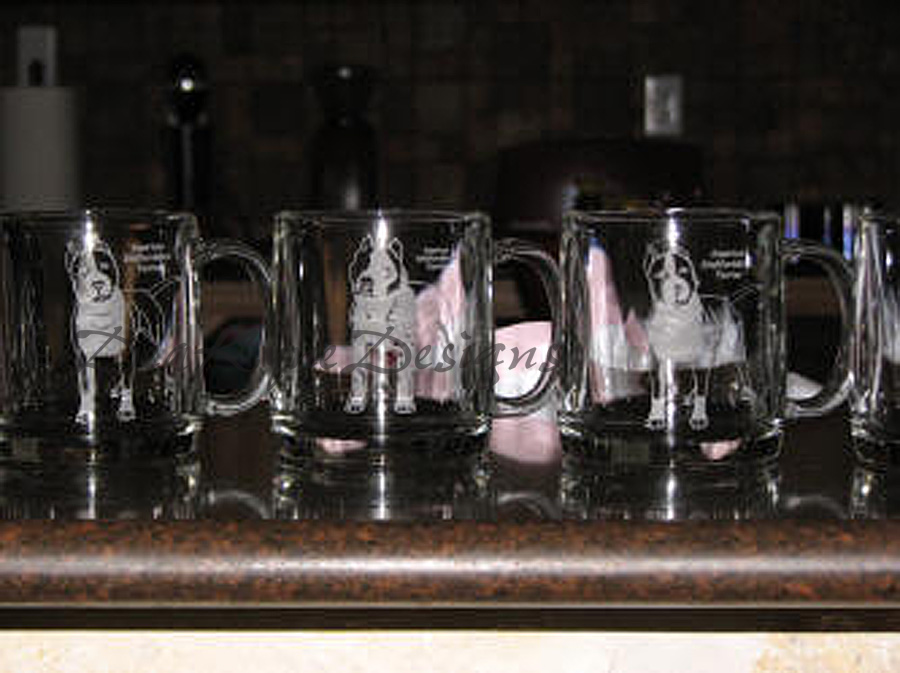 Etched glass coffee mugs - amstaff